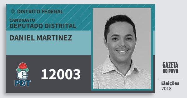 Santinho Daniel Martinez 12003 (PDT) Deputado Distrital | Distrito Federal | Eleições 2018