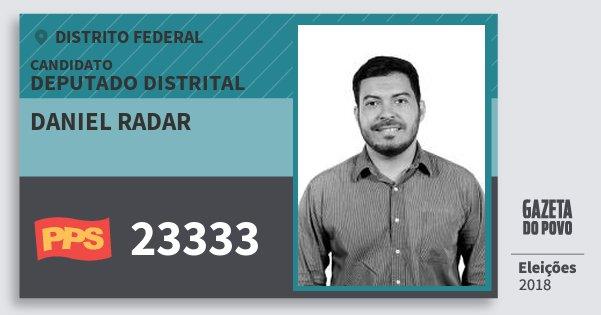 Santinho Daniel Radar 23333 (PPS) Deputado Distrital | Distrito Federal | Eleições 2018