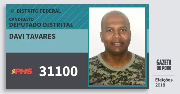 Santinho Davi Tavares 31100 (PHS) Deputado Distrital | Distrito Federal | Eleições 2018
