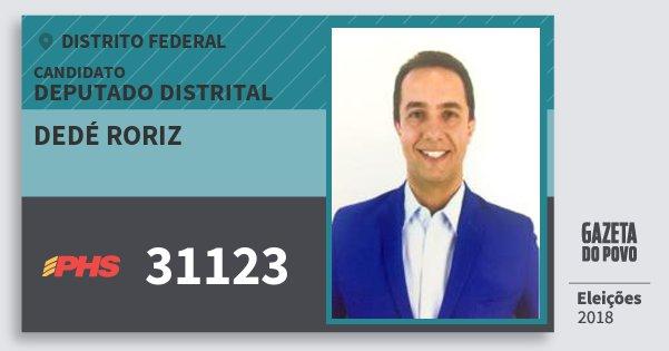 Santinho Dedé Roriz 31123 (PHS) Deputado Distrital | Distrito Federal | Eleições 2018