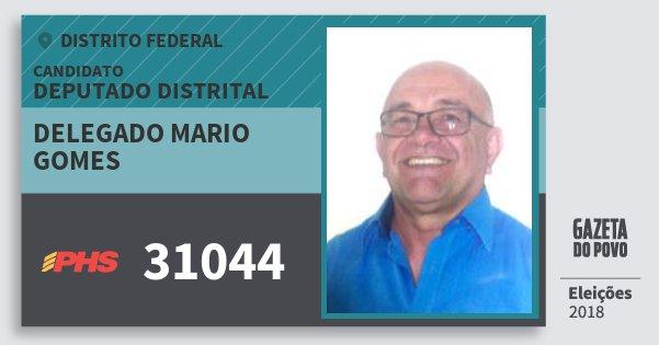 Santinho Delegado Mario Gomes 31044 (PHS) Deputado Distrital | Distrito Federal | Eleições 2018