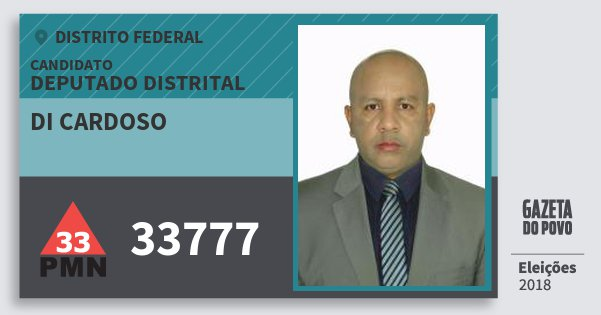 Santinho di Cardoso 33777 (PMN) Deputado Distrital | Distrito Federal | Eleições 2018
