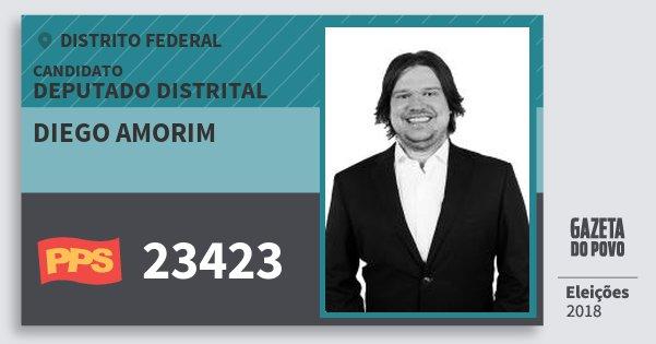 Santinho Diego Amorim 23423 (PPS) Deputado Distrital | Distrito Federal | Eleições 2018