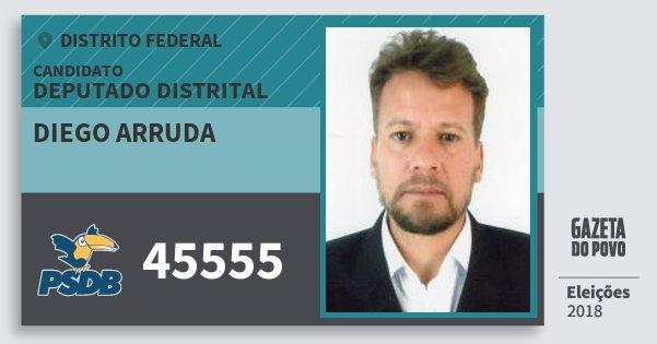 Santinho Diego Arruda 45555 (PSDB) Deputado Distrital | Distrito Federal | Eleições 2018