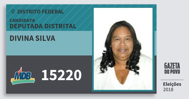 Santinho Divina Silva 15220 (MDB) Deputada Distrital | Distrito Federal | Eleições 2018