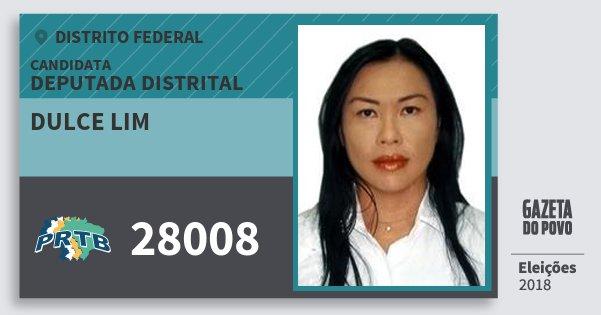 Santinho Dulce Lim 28008 (PRTB) Deputada Distrital | Distrito Federal | Eleições 2018