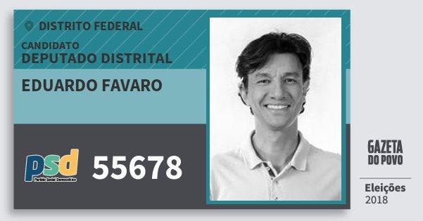 Santinho Eduardo Favaro 55678 (PSD) Deputado Distrital | Distrito Federal | Eleições 2018