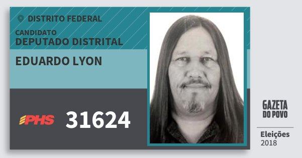 Santinho Eduardo Lyon 31624 (PHS) Deputado Distrital | Distrito Federal | Eleições 2018