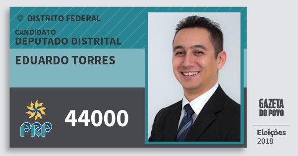 Santinho Eduardo Torres 44000 (PRP) Deputado Distrital | Distrito Federal | Eleições 2018