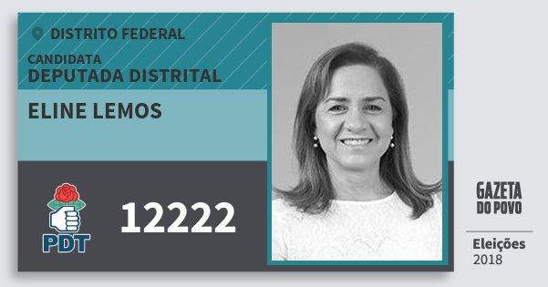 Santinho Eline Lemos 12222 (PDT) Deputada Distrital | Distrito Federal | Eleições 2018