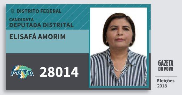 Santinho Elisafá Amorim 28014 (PRTB) Deputada Distrital | Distrito Federal | Eleições 2018