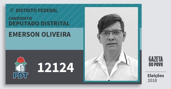 Santinho Emerson Oliveira 12124 (PDT) Deputado Distrital | Distrito Federal | Eleições 2018