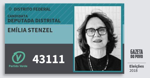 Santinho Emília Stenzel 43111 (PV) Deputada Distrital | Distrito Federal | Eleições 2018