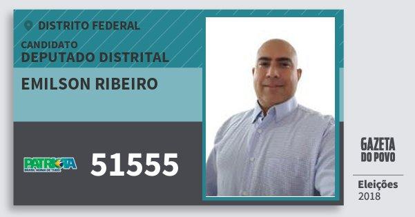 Santinho Emilson Ribeiro 51555 (PATRI) Deputado Distrital | Distrito Federal | Eleições 2018