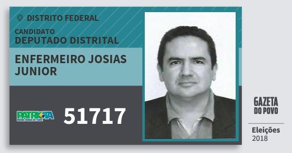 Santinho Enfermeiro Josias Junior 51717 (PATRI) Deputado Distrital | Distrito Federal | Eleições 2018