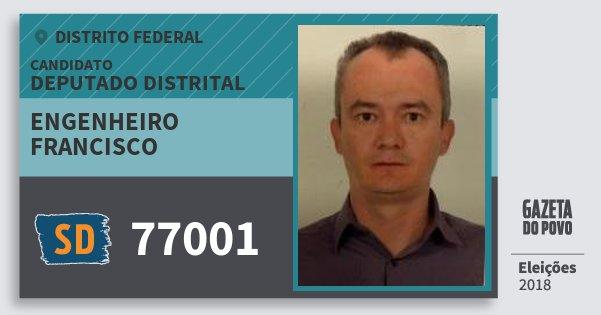 Santinho Engenheiro Francisco 77001 (SOLIDARIEDADE) Deputado Distrital | Distrito Federal | Eleições 2018