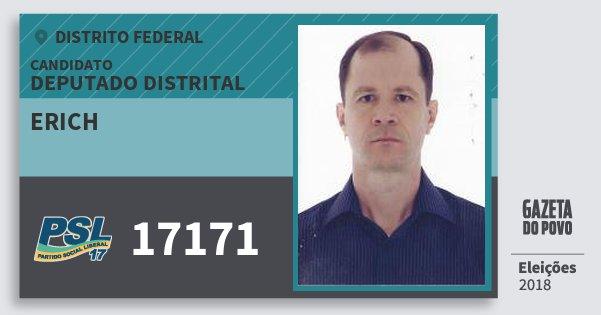 Santinho Erich 17171 (PSL) Deputado Distrital | Distrito Federal | Eleições 2018