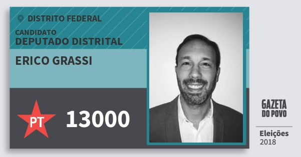 Santinho Erico Grassi 13000 (PT) Deputado Distrital   Distrito Federal   Eleições 2018