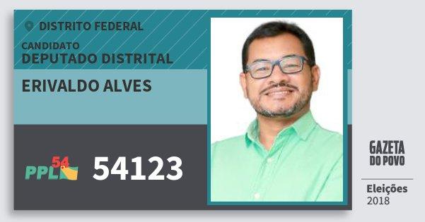 Santinho Erivaldo Alves 54123 (PPL) Deputado Distrital | Distrito Federal | Eleições 2018