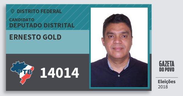 Santinho Ernesto Gold 14014 (PTB) Deputado Distrital | Distrito Federal | Eleições 2018