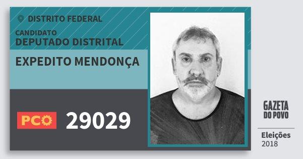 Santinho Expedito Mendonça 29029 (PCO) Deputado Distrital | Distrito Federal | Eleições 2018