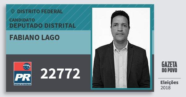Santinho Fabiano Lago 22772 (PR) Deputado Distrital | Distrito Federal | Eleições 2018
