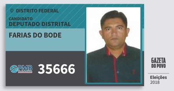 Santinho Farias do Bode 35666 (PMB) Deputado Distrital | Distrito Federal | Eleições 2018