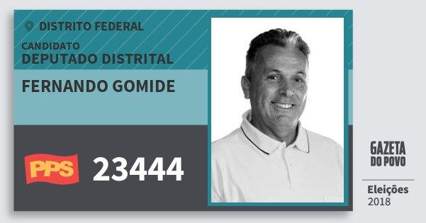 Santinho Fernando Gomide 23444 (PPS) Deputado Distrital | Distrito Federal | Eleições 2018