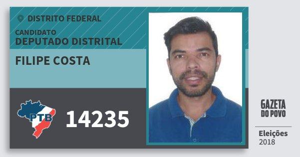 Santinho Filipe Costa 14235 (PTB) Deputado Distrital | Distrito Federal | Eleições 2018