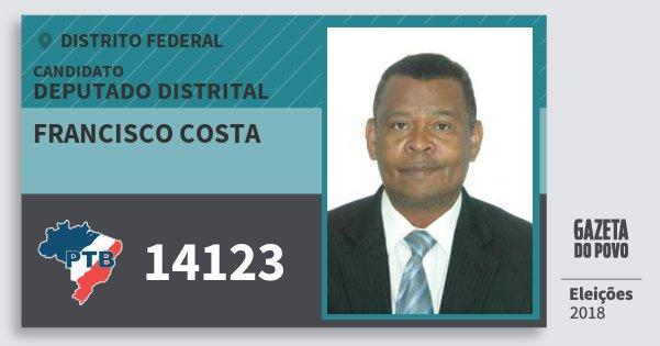 Santinho Francisco Costa 14123 (PTB) Deputado Distrital | Distrito Federal | Eleições 2018