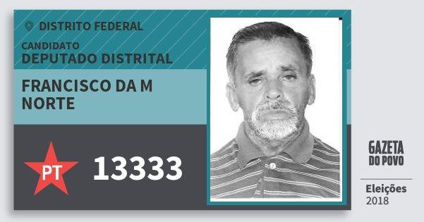 Santinho Francisco da M Norte 13333 (PT) Deputado Distrital | Distrito Federal | Eleições 2018