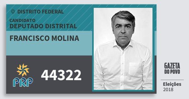 Santinho Francisco Molina 44322 (PRP) Deputado Distrital | Distrito Federal | Eleições 2018