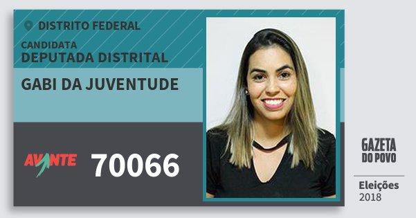 Santinho Gabi da Juventude 70066 (AVANTE) Deputada Distrital | Distrito Federal | Eleições 2018