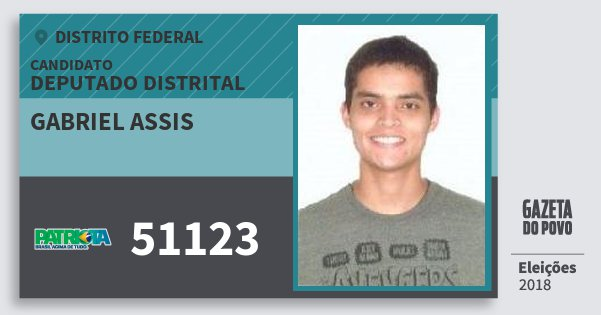 Santinho Gabriel Assis 51123 (PATRI) Deputado Distrital | Distrito Federal | Eleições 2018