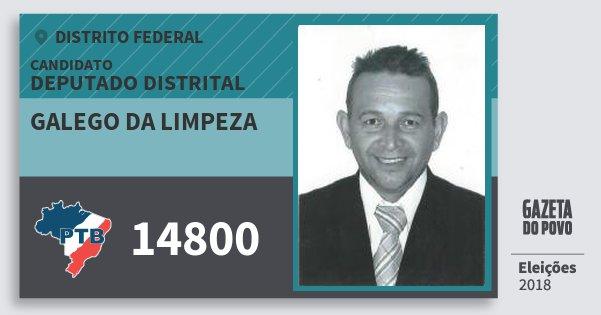 Santinho Galego da Limpeza 14800 (PTB) Deputado Distrital | Distrito Federal | Eleições 2018