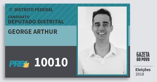 Santinho George Arthur 10010 (PRB) Deputado Distrital | Distrito Federal | Eleições 2018