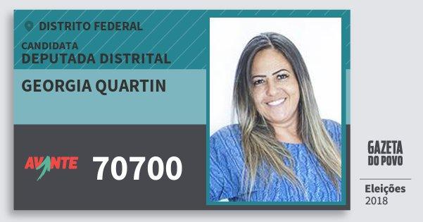 Santinho Georgia Quartin 70700 (AVANTE) Deputada Distrital | Distrito Federal | Eleições 2018