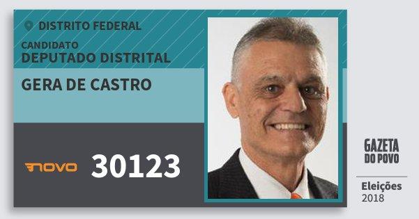 Santinho Gera de Castro 30123 (NOVO) Deputado Distrital | Distrito Federal | Eleições 2018