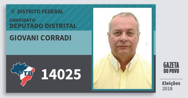 Santinho Giovani Corradi 14025 (PTB) Deputado Distrital | Distrito Federal | Eleições 2018