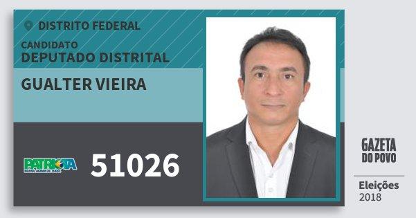 Santinho Gualter Vieira 51026 (PATRI) Deputado Distrital | Distrito Federal | Eleições 2018
