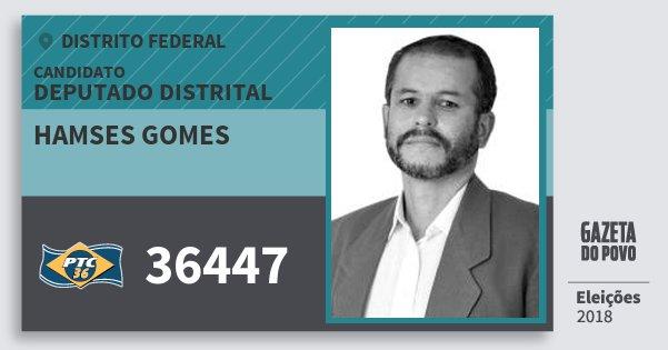 Santinho Hamses Gomes 36447 (PTC) Deputado Distrital | Distrito Federal | Eleições 2018