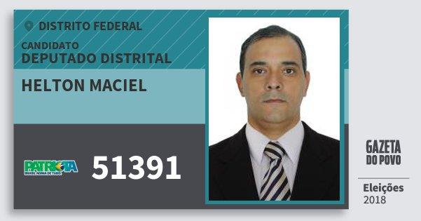 Santinho Helton Maciel 51391 (PATRI) Deputado Distrital | Distrito Federal | Eleições 2018