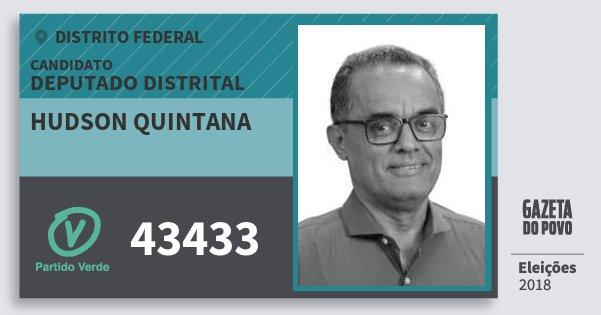 Santinho Hudson Quintana 43433 (PV) Deputado Distrital | Distrito Federal | Eleições 2018