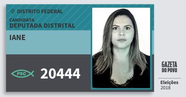 Santinho Iane 20444 (PSC) Deputada Distrital | Distrito Federal | Eleições 2018