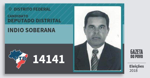 Santinho Indio Soberana 14141 (PTB) Deputado Distrital | Distrito Federal | Eleições 2018