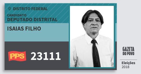 Santinho Isaias Filho 23111 (PPS) Deputado Distrital | Distrito Federal | Eleições 2018