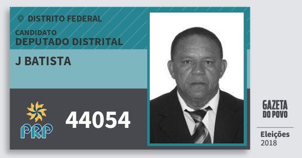 Santinho J Batista 44054 (PRP) Deputado Distrital | Distrito Federal | Eleições 2018