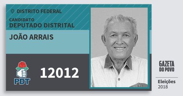 Santinho João Arrais 12012 (PDT) Deputado Distrital | Distrito Federal | Eleições 2018