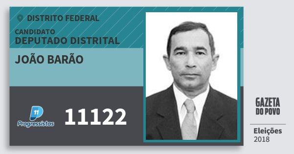 Santinho João Barão 11122 (PP) Deputado Distrital | Distrito Federal | Eleições 2018