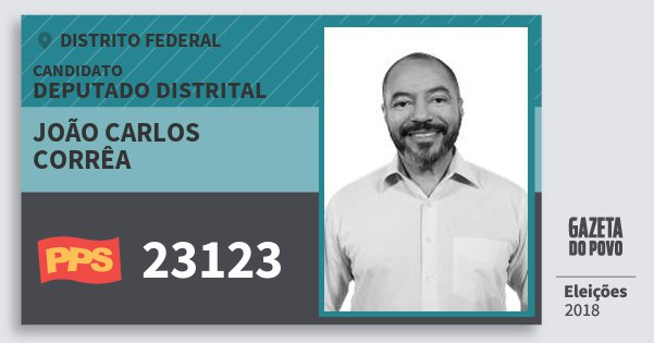 Santinho João Carlos Corrêa 23123 (PPS) Deputado Distrital | Distrito Federal | Eleições 2018